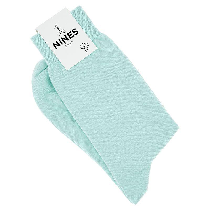 Chaussettes coton bio vert d'eau