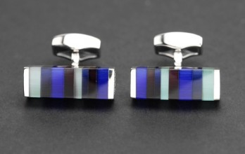 Boutons de manchette Tateossian - Tablet Striped Blue