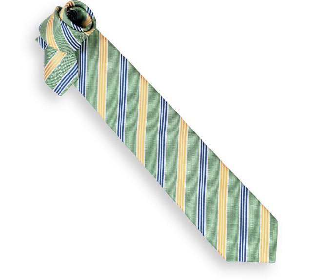 Cravate ascot vert rayures bleu marine et jaunes la - La maison de la cravate ...