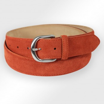 CEINTURE MORGAN ORANGE TERRE BATTUE SUEDE