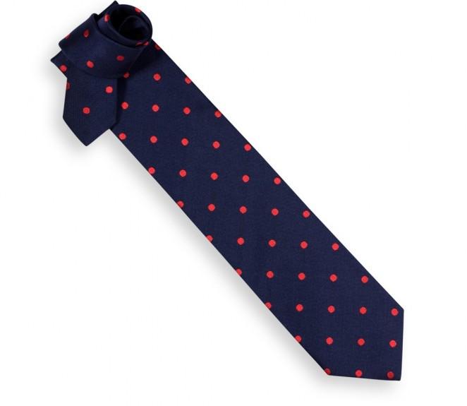 Cravate hackett bleu nuit gros pois rouges la maison - La maison de la cravate ...