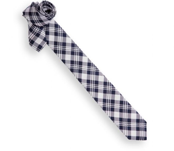 cravate slim 233 cossaise grise et bleu marine oban la maison de la cravate