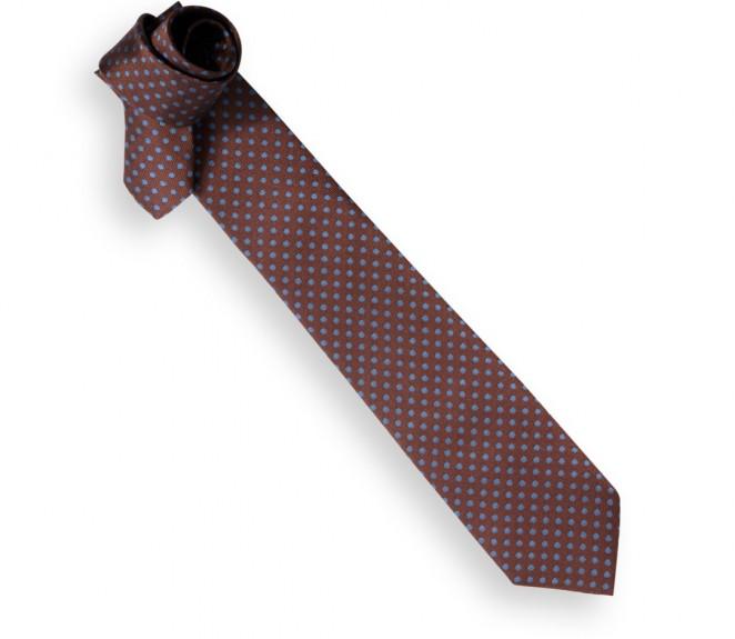 Cravate marron pois bleus chelsea la maison de la - La maison de la cravate ...
