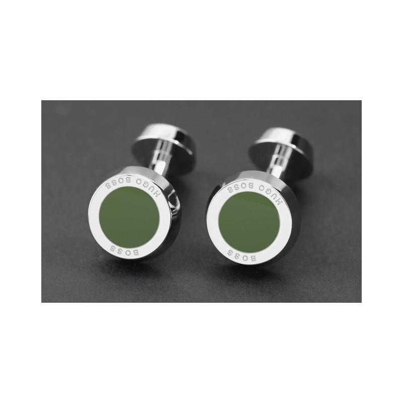 Boutons de manchette Hugo Boss - Simony vert bouteille