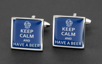 Boutons de manchette Keep Calm and Have a Beer