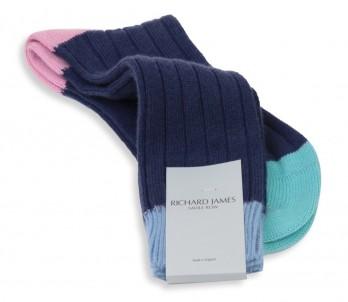 Chaussettes cachemire bleu Richard James