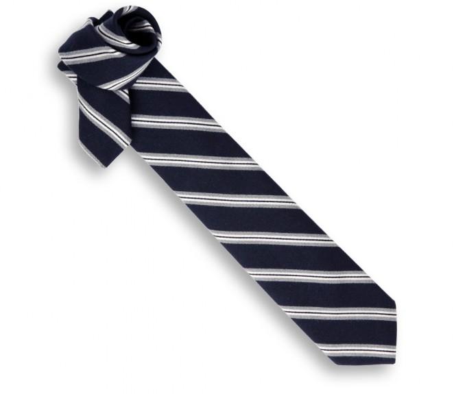 Cravate breuer noire rayures blanches la maison de la - La maison de la cravate ...