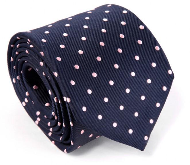 Cravate h ritage bleu marine pois roses paris la - La maison de la cravate ...