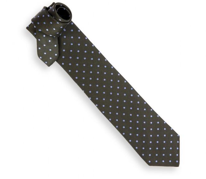 Cravate h ritage vert bouteille pois bleu ciel la - La maison de la cravate ...