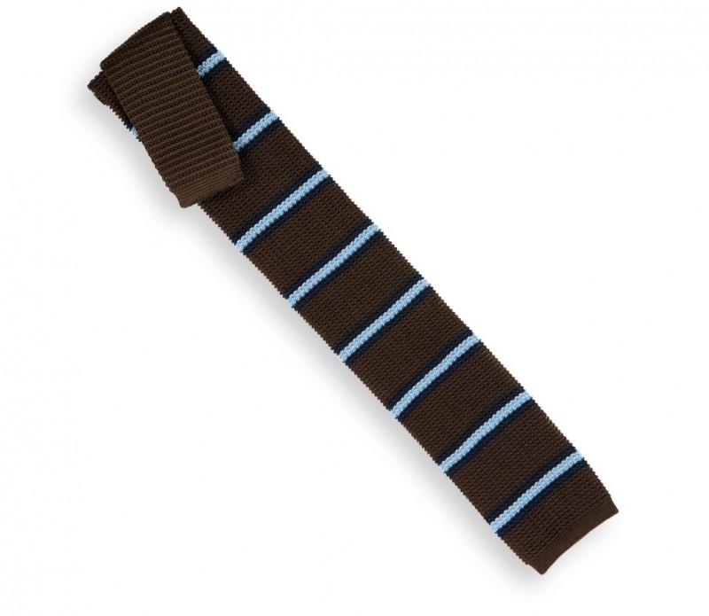 cravate ascot en tricot de soie marron rayures bleu ciel et bleu marine la maison de la cravate. Black Bedroom Furniture Sets. Home Design Ideas