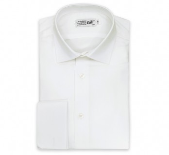 Chemise mousquetaire twill blanche col italien slim fit