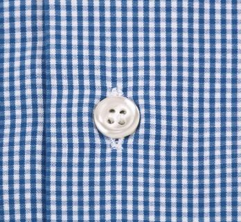 Chemise mousquetaire vichy bleu petit col slim fit