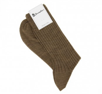 Chaussettes laine vierge tabac