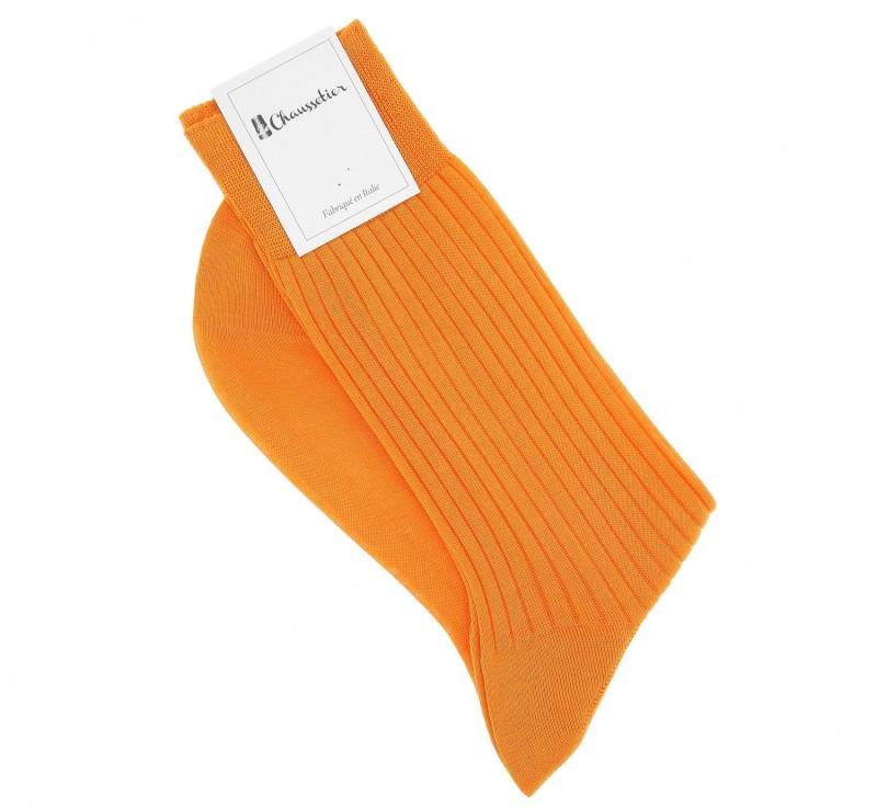 Chaussettes fil d'écosse orange abricot