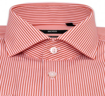 Chemise Hugo Boss à rayures blanches et orange col cutaway poignets simples slim fit