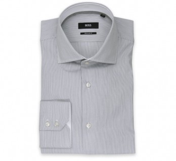 Chemise Hugo Boss blanches à fines rayures noires col italien ouvert poignets simples coupe regular