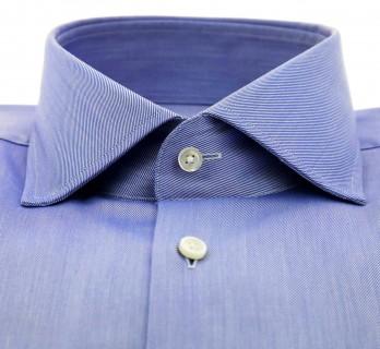 Chemise Hugo Boss mousquetaire twill bleu col italien ouvert coupe regular