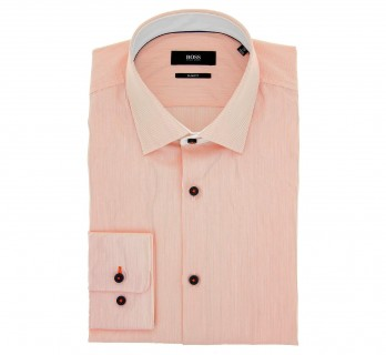 Chemise Hugo Boss blanches à fines rayures orange col italien slim fit