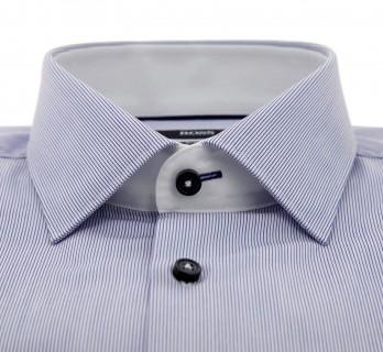 Chemise Hugo Boss bleue à fines rayures col italien ouvert poignets simples slim fit