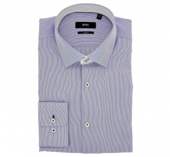 Chemise Hugo Boss blanche à fines rayures bleu marine col italien poignets simples slim fit