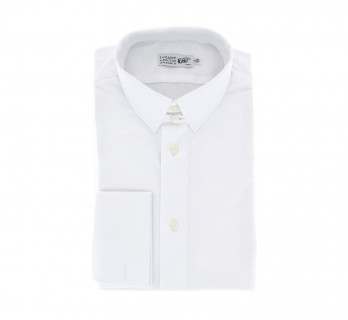 Chemise mousquetaire popeline blanche col anglais coupe regular
