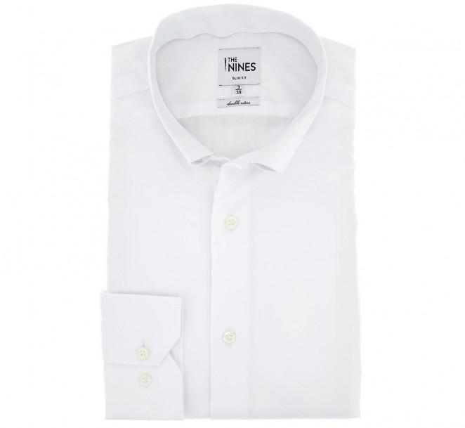 chemise double retors popeline blanche col invers. Black Bedroom Furniture Sets. Home Design Ideas