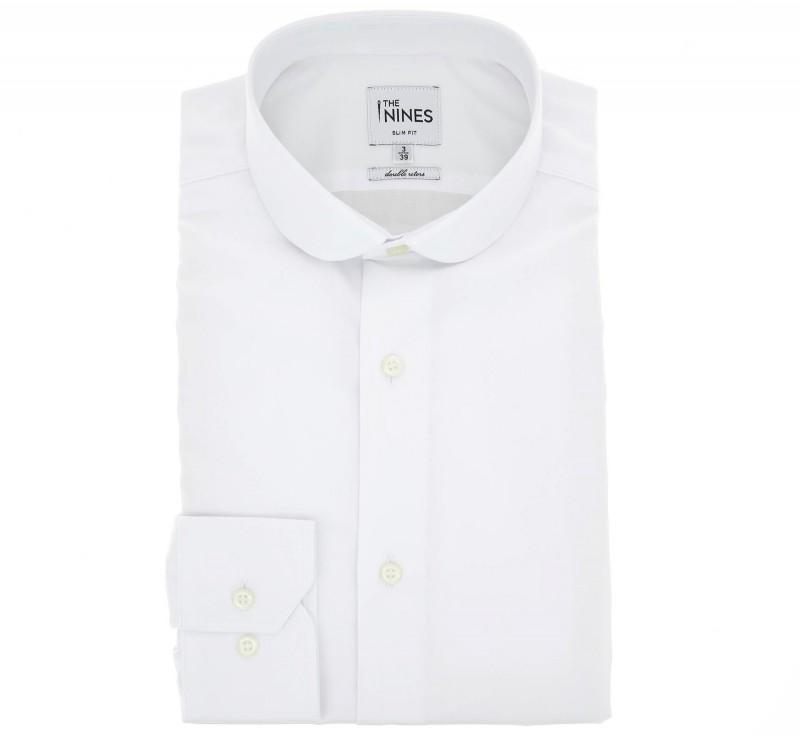 chemise double retors blanche col rond slim fit chemise homme. Black Bedroom Furniture Sets. Home Design Ideas