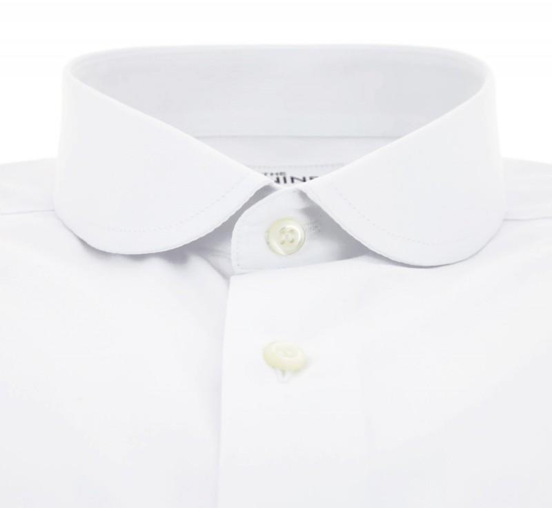 chemise double retors blanche col rond slim fit chemise. Black Bedroom Furniture Sets. Home Design Ideas
