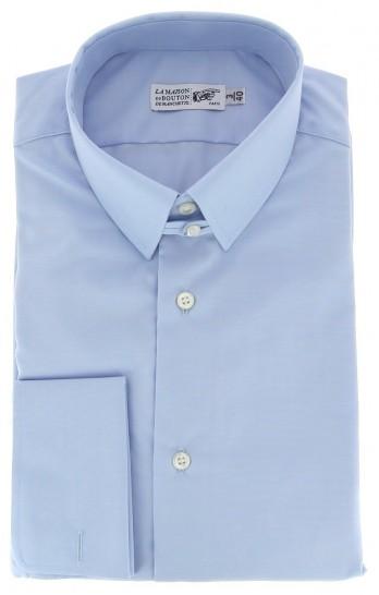 Chemise mousquetaire popeline bleu ciel col anglais coupe regular