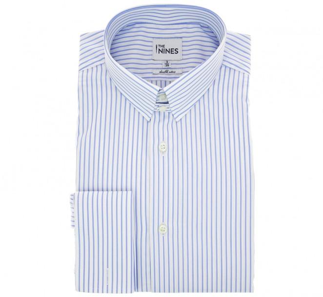 Chemise mousquetaire à rayures bleu ciel col anglais coupe regular