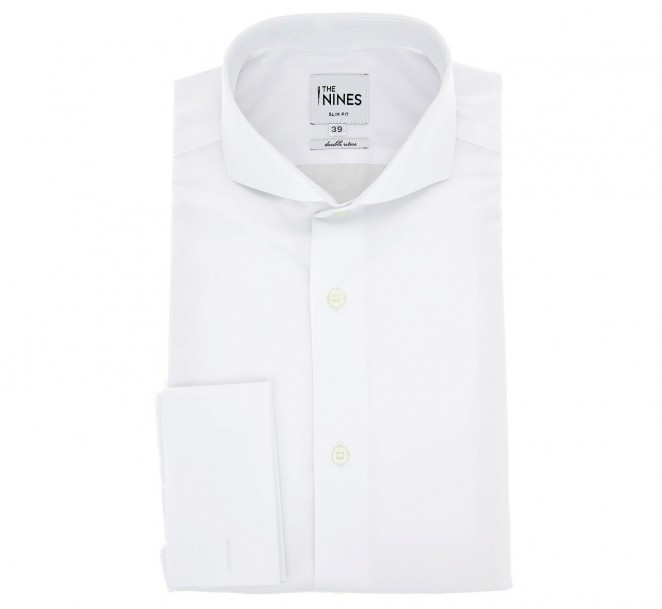 Chemise mousquetaire popeline blanche col cutaway slim fit