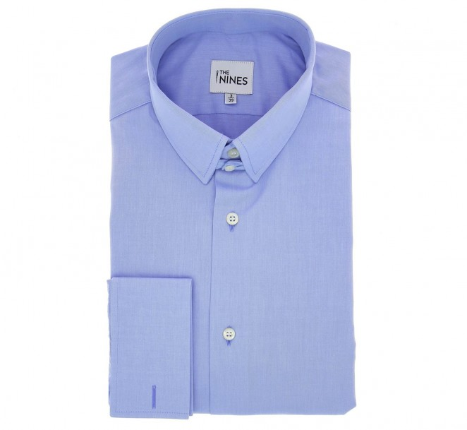 Chemise mousquetaire popeline bleue col anglais coupe regular