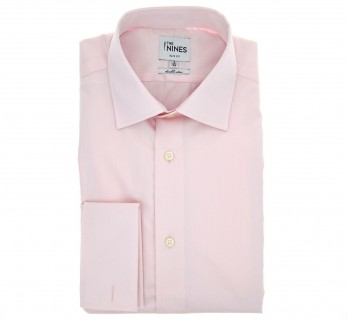 Chemise mousquetaire popeline rose col italien slim fit