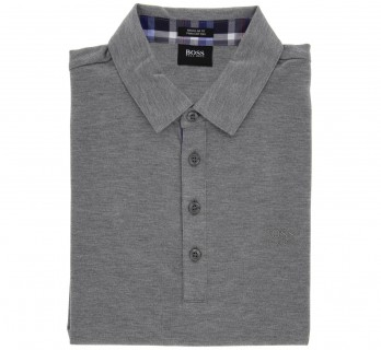 Polo Hugo Boss gris col écossais regular fit