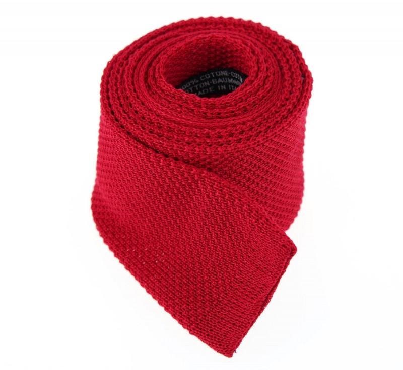 Cravate en tricot de coton rouge la maison de la cravate - La maison de la cravate ...
