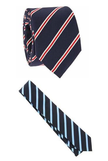 Cravates bleues à rayures