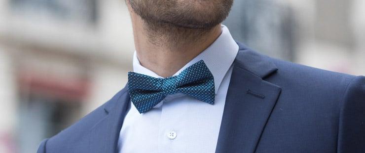Noeud papillon bleu canard en soie jacquard à motifs géométriques