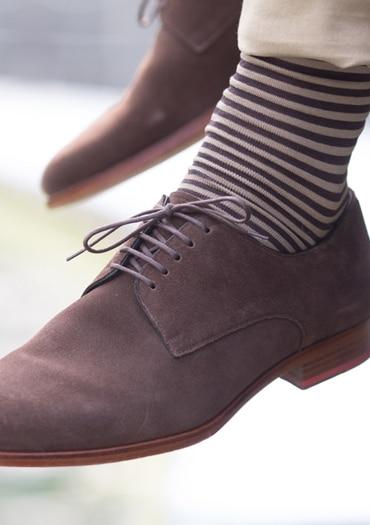 chaussettes rayées marron fil d'écosse