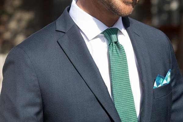 cravate jacquard de soie losange vert