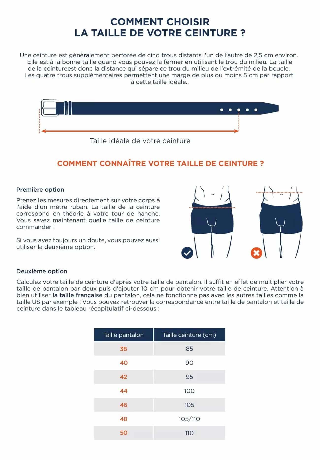 Guide des tailles ceintures THE NINES