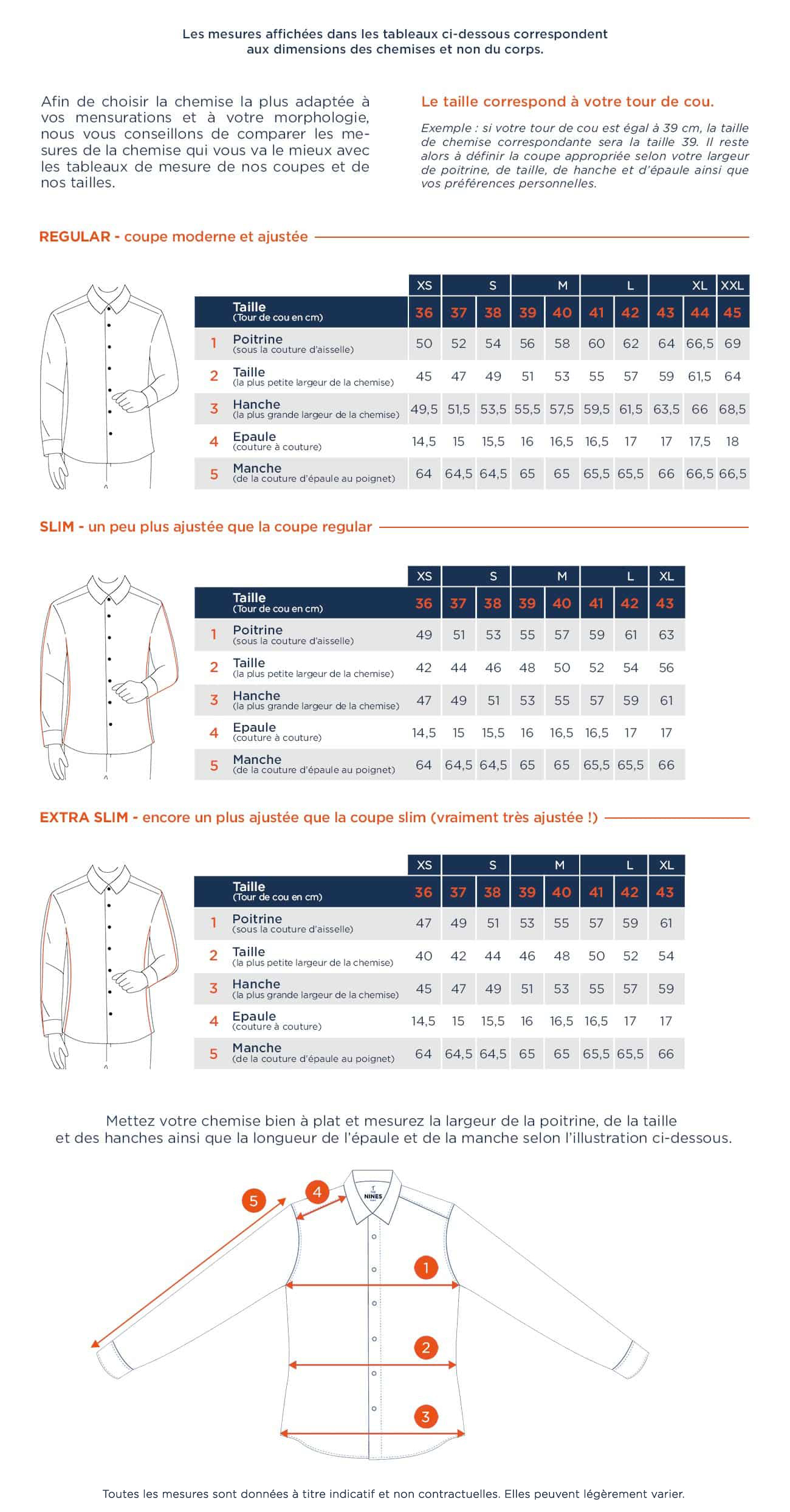 Guide des tailles Chemise THE NINES