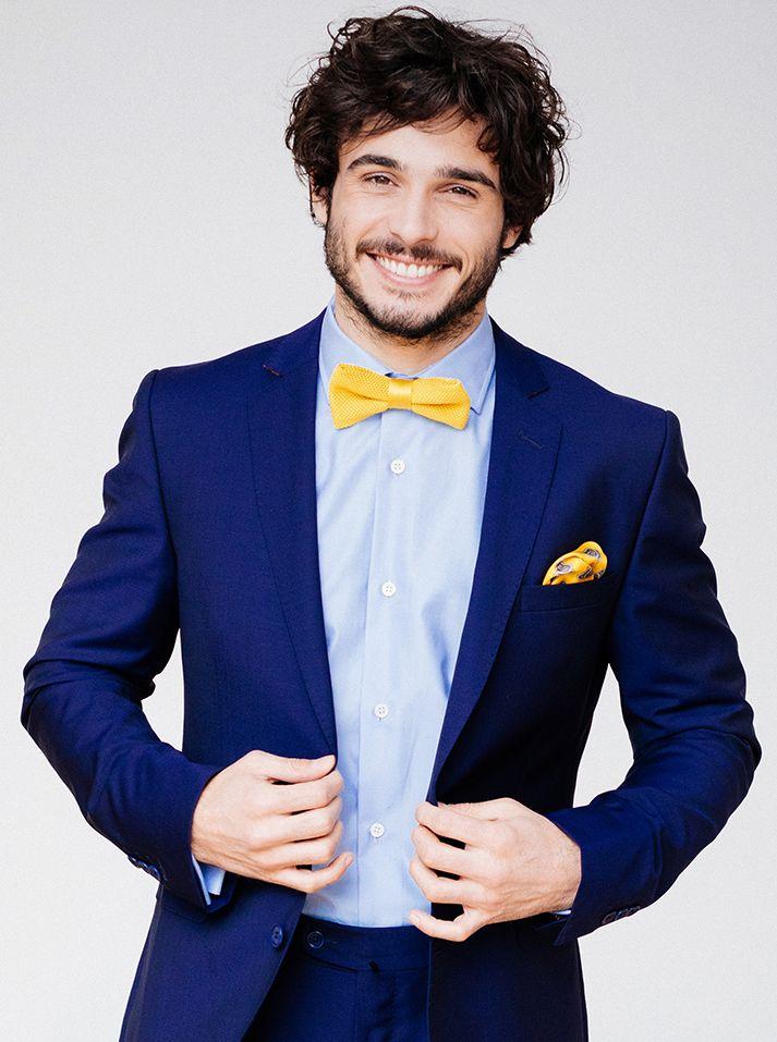 costume bleu mohair mariage