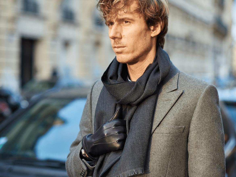 gants cuir agneau bleu marine