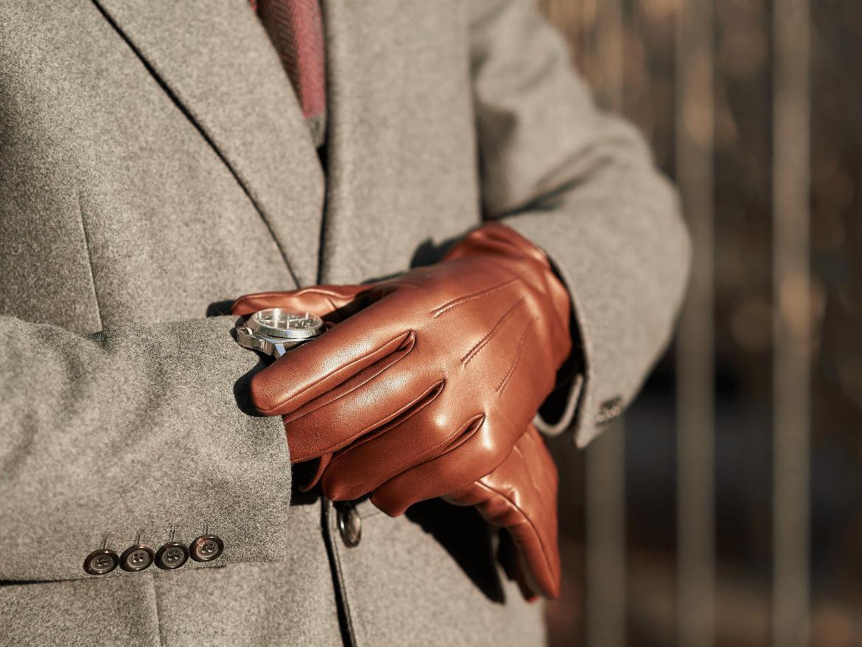 gants cuir agneau marron