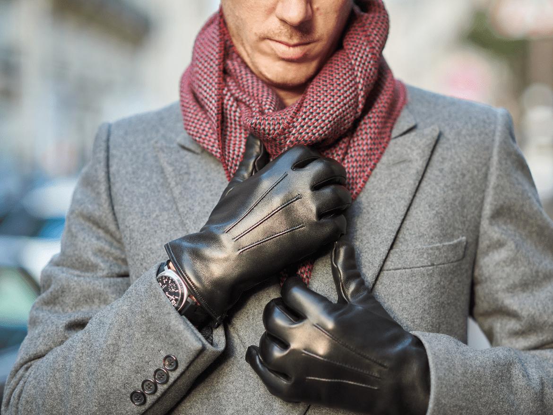 gants cuir agneau noir