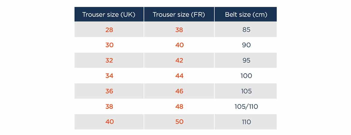 match belt size with trousers size