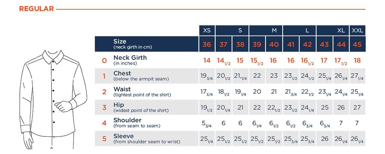 regular fit shirt size chart