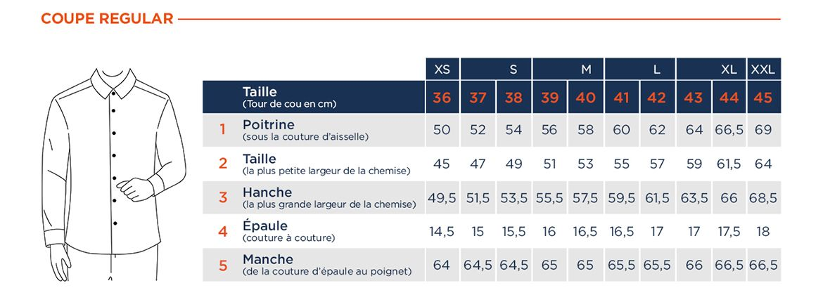 guide des tailles chemise coupe regular