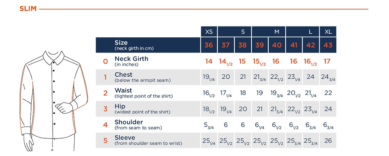slim fit shirt size chart