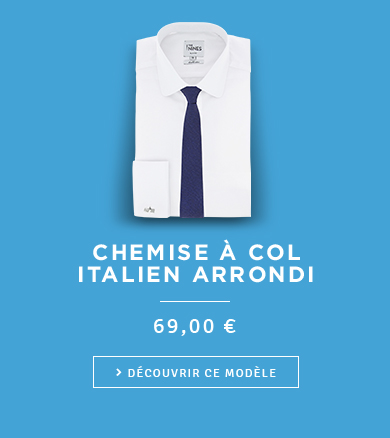 Chemise à col italien arrondi